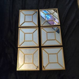 Set of 6 10x10  Gold Mirror Wall Plaques